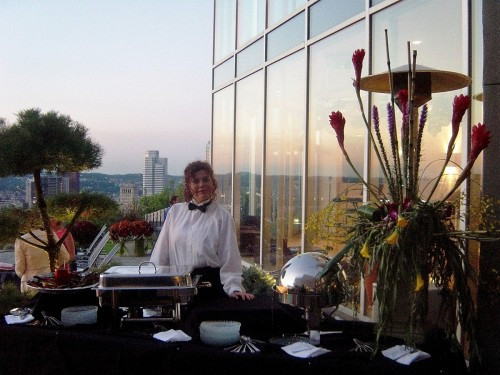 Herforth-Karlovich Benefit at home on Mt. Washington - Buffet with view behind