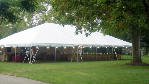 Tent exterior on lawn at Frick Curci Kramer Wedding