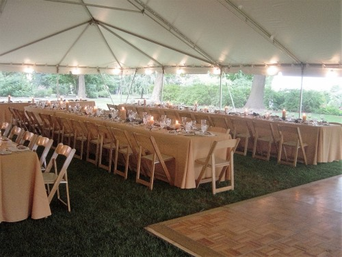 Tent interior Curci Kramer Wedding at Frick